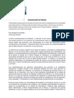 Comunicado de Prensa sobre Despliegue Policial en Protesta 13-5-2015