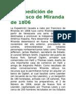 La Expedición de Francisco de Miranda de 1806