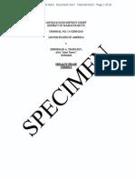 Specimen Verdict Form Dzhokhar Tsarnaev