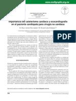 Importancia del cateterismo cardíaco y ecocardiografía en el paciente cardiópata para cirugía no cardíaca