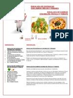 Ensalada de Espinacas Con Jamón, Melón y Piñones y Ensalada de Gambas Con Melón Rúcula y Tomate