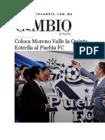 14-05-2015 Diario Matutino Cambio de Puebla - Coloca Moreno Valle La Quinta Estrella Al Puebla FC