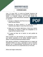 Comunicado de la Junta de Fiscales Supremos del Ministerio Público - Fiscalía de la Nación