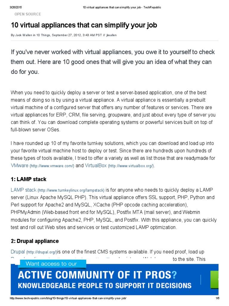 10 Virtual Appliances That Can Simplify Your Job