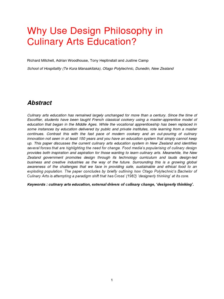 Why Use Design Philosophy In Culinary Arts Education Mitchell  # Lorena Alinea Guide