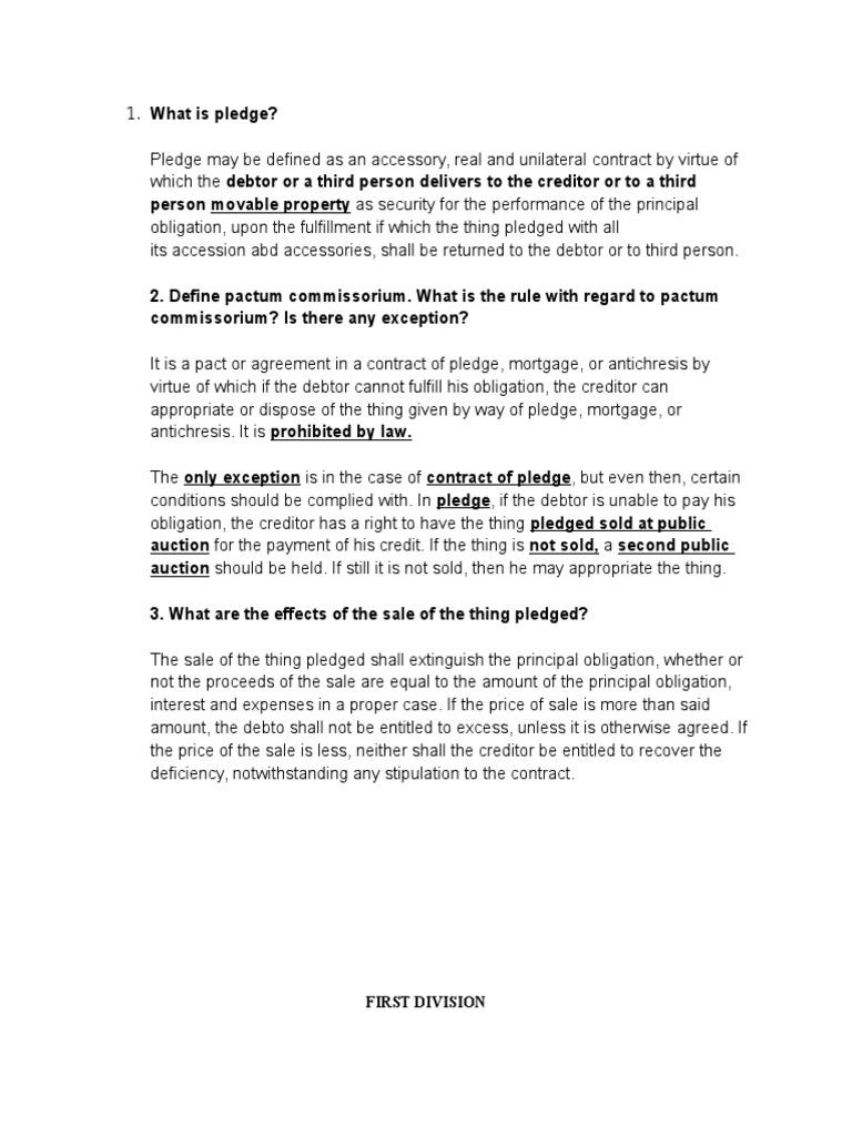 Pactum Commisorium Foreclosure Mortgage Law