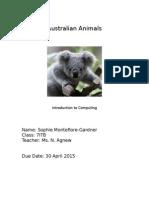 australian animals sophie m-g text