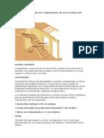 Vista Isométrica de Los Componentes de Una Escalera de Madera