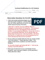 ell classroom observation