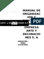 Manual de Organización y Funciones de La Empresa Arte y Decoraciones s