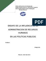 Ensayo Sobre La Administracion de Los Recursos Humanos en Las Politicas Publicas