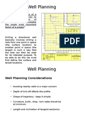 1  Well Planning | Casing (Borehole) | Oil Well