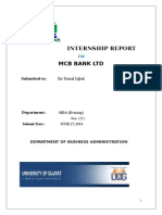 Internship Report on Mcb Bank Ltd