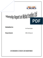 Internship Report on Nishat Textile Ltd