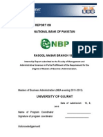 National Bank of Pakistan Internship Report