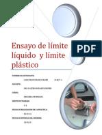 Ensayo de Límite Líquido y Plástico
