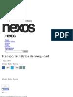 Transporte, Fábrica de Inequidad - Salvador Medina Ramírez