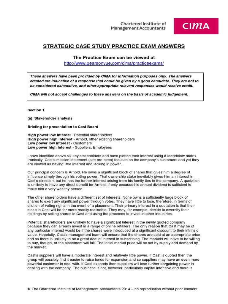 Case Study Practice Exam Answers_strategic | Valuation