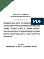 Listado Provisional de Interinos de Profesores de Artes Plásticas y Diseño 2015-2016. Alfabético