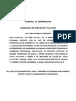 Listado Provisional de Interinos de Secundaria 2015-2016. Bilingües Excluidos o Que Deben Subsanar Certificaciones