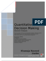 Decision Analysis in Quantitative Decision Making