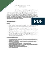 Labour Market Research Assistant Position Job Description (Final)
