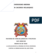 LA APLICACIÓN DE LA PRUEBA DE OFICIO ATENTARIA CONTRA LA IMPARCIALIDAD DEL JUEZ PENAL