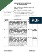Ald Inspection Certificate