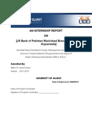 JS Bank of Pakistan Internship Report | Transaction Account