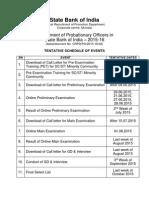 SBI PO - 2015 Tentative Schedule