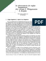 Sobre La Observancia de Las Reglas Lingüísticas. Chomsky vs Wittgenstein