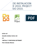 Reporte de Instalacion De Office 10,Project 10, Visio 10.