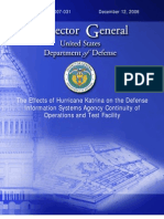 The Effects of Hurricane Katrina on the Defense Information Systems Agency Continuity of Operations and Test Facility