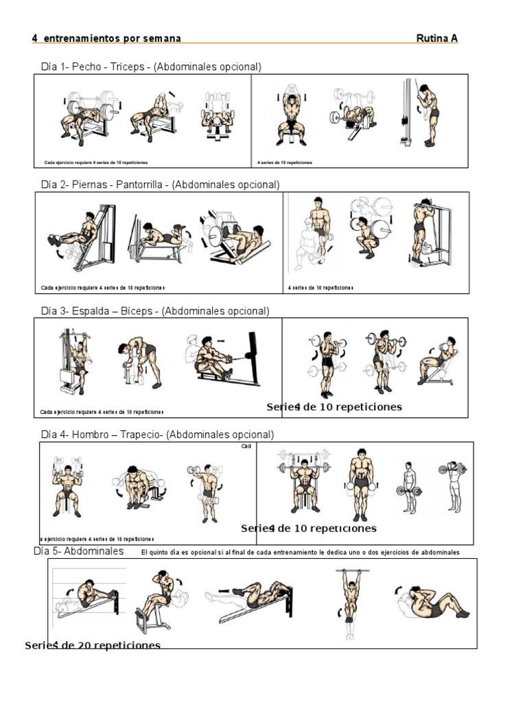 Día 1 Pecho Tríceps Abdominales Opcional 4 Entrenamientos Por Semana Rutina A Ejercicio Físico Hombro