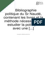 Gabriel Naudé_La Bibliographie Politique Du Sr Naudé (1642)