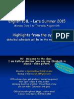 Syllabus Highlights 151L 10week