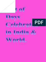 List of Days Celebrated in India & World.