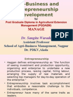 Agri-Business and Entrepreneurship Development
