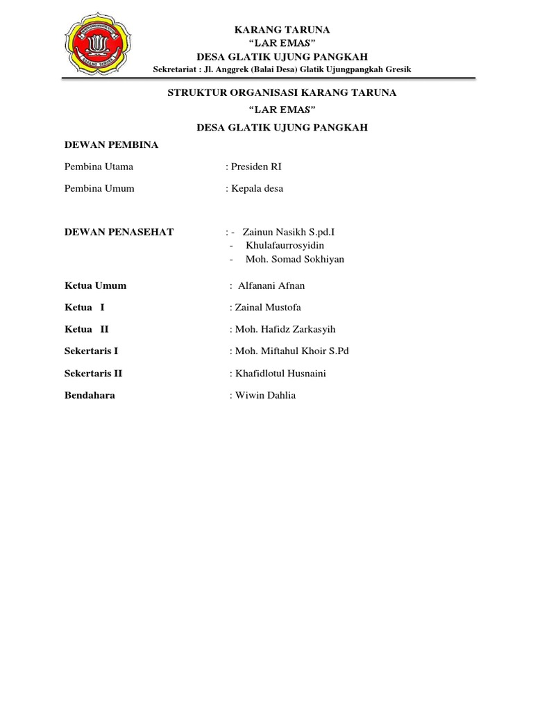 Contoh Kop Surat Organisasi Karang Taruna - Contoh Kop Surat