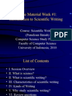 W 1 What is Scientific Writing