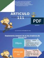 REGALMENTO LEY ORGANICA DE EDUCACCION ARTICULO 111