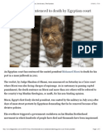 Mohamed Morsi sentenced to death by Egyptian court | World news | The Guardian
