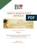 `Abdu'l-Bahá's Aunt Reveals