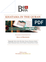 Khatama in the Quran