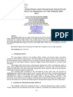 THE ANALYSIS OF EVOLUTION AND FINANCING POLICIES OF THE BUDGET DEFICIT IN ROMANIA, IN THE PERIOD 2007 – 2012