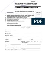 Faculty Positions Job Application Form 2013