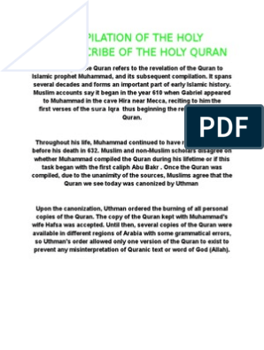 compilation of the holy quran | Quran | Islamic Texts