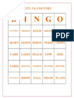 2161 City vs Country Bingo Cards