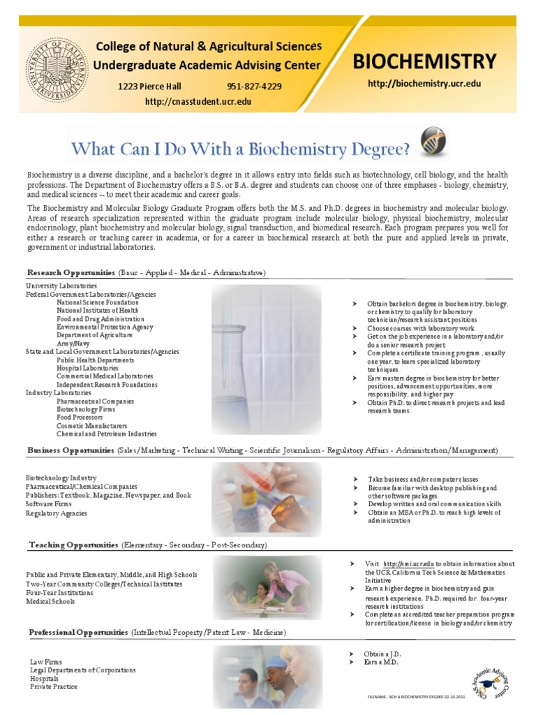 Biochemistry Degree Flyer Academic Degree Doctor Of Philosophy