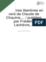 Frédéric Lachèvre_Les Lettres Libertines en Vers de Claude de Chaulne